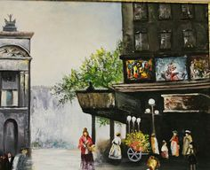 Oil color painting city barook