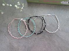 Handmade silver bead bracelet / Cord bracelet / 925 silver bead bracelet / colorful cord bracelet / Spring color handmade bracelet by thinlight on Etsy