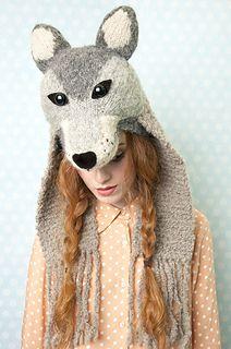 Ravelry: Wolf Headdress pattern by Louise Walker Crochet Wolf, Crochet Hats, Knitting Books, Knitting Projects, Wolf Headdress, Wolf Hat, Crochet Hooded Scarf, Animal Knitting Patterns, Ag Doll Clothes