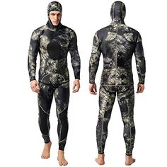 Nataly Osmann Camo Spearfishing Wetsuits Men Neoprene Hooded Sup. Diving Suit, Scuba Diving, Mens Full Suits, Triathlon Wetsuit, Diving Wetsuits, Camo Colors, Diving Equipment, Wakeboarding, Motorcycle Jacket