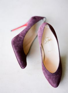 purple suede #louboutin  Photography: Justin DeMutiis Photography - justindemutiisphotography.com - View entire slideshow: 20 Wedding Shoes that Wow on http://www.stylemepretty.com/collection/221/