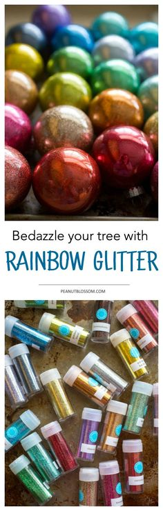 Bedazzle your Christmas tree with these breathtaking rainbow glitter ornaments. Mix and match just the right colors to perfectly match your decor. These sparkly gems add just the right touch of festive whimsy to your Christmas tree.