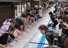 「和紙」がユネスコ無形文化遺産に登録される見通しとなったのを記念し、長さ60メートルの紙すきに挑戦する人たち=15日午後、岐阜県美濃市 ▼15Nov2014共同通信|60m紙すき成功、岐阜・美濃 文化遺産記念 http://www.47news.jp/CN/201411/CN2014111501001423.html #Mino_Gifu #Washi