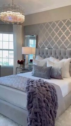 Grey Bedroom Decor, Bedroom Decor For Couples, Glam Bedroom, Master Bedroom Design, Room Ideas Bedroom, Home Room Design, Bedroom Furniture, Romantic Master Bedroom, Couple Bedroom