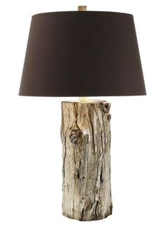 The Goldberg Lamp by Maison Luxe -- Silvered natural bark with chocolate silk shade with silver foil lining.