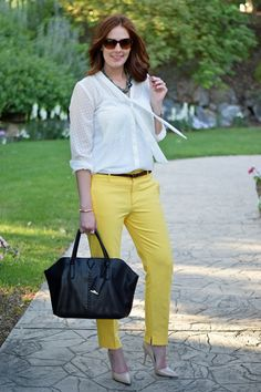 great outfit for work! love the balance of the bright and soft