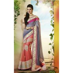 Sprightly Salmon And Grey Faux Georgette And Net Saree #saree #sarees #designersaree #indianfashion #partywear #onlineshopping