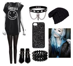 Black :3 by dadyrabbit on Polyvore featuring polyvore fashion style FiveUnits Valentino Trend Cool Forever 21 Marc by Marc Jacobs Grevi black emo scene nirvana bluehair
