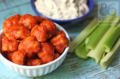 Vegan Buffalo Bites + Blue Cheese Dressing (cauliflower battered and baked then coated w your fav sauce + tofu, tahini, lemon dip) not no fat but lighter AND this COULD be soy free!