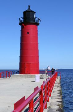 Milwaukee Pierhead, WI. Located at the end of a pier in the Milwaukee harbor, marking the river entrance.