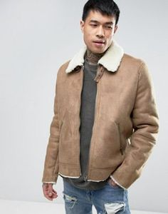 ASOS Faux Shearling Jacket In Camel