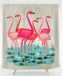 Flamingo Shower Curtain Bathroom Curtains Fixtures