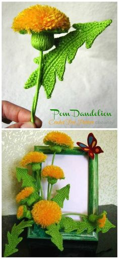 for the home free patterns Amigurumi Dandelion Crochet Free Patterns - Crochet & Knitting Crochet Sunflower, Crochet Daisy, Crochet Leaves, Crochet Flowers, Cat Crochet, Crochet Diagram, Easy Crochet Patterns, Knitting Patterns, Knitting Ideas