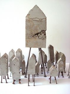 white - houses - M Concrete and nails - sculpture - Sharon Pazner Cement Art, Concrete Art, Concrete Design, Ceramic Houses, Ceramic Clay, Concrete Sculpture, Sculpture Art, 3d Studio, Decoration Inspiration