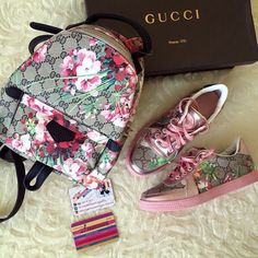 gucci backpack and shoes- Gucci canvas shoulder bags http://www.justtrendygirls.com/gucci-canvas-shoulder-bags/