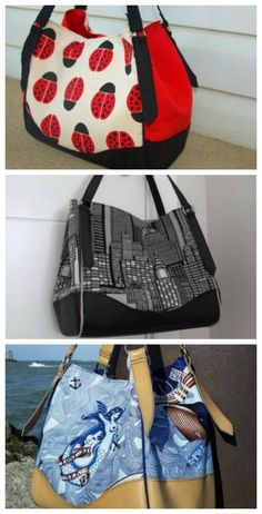 Here's Swoon's Charlotte City Tote bag, which you can buy and download as a pdf bag sewing pattern. A stylish chic tote featuring hanging handles, a magnetic snap top closure and vinyl overlays that present a store-bought look and feel. The interior is sp