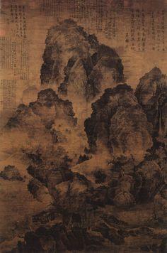 Fan Kuan (范寬) , 宋 范宽 临流独坐图 , 台北故宫博物院藏 范宽的《临流独坐图》是又一表现层峦叠嶂、千岩万壑的巨制。深郁的山坳间腾起弥漫浮动的云雾,吐吞变灭,更加强了忘身于万山之中的感觉。卜居期间往往成天端坐,放眼四望自然景观,从中寻求绘画的情趣。即使是雪夜,也在室外凝神观察,以便触发灵感。后来终于自成一家,同董源、李成并称为宋初山水画三大家。后人认为三家遗作,为百代之师。