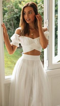 Hot Outfits, Girly Outfits, Fashion Outfits, Casual Dresses, Summer Dresses, Summer Outfits, International Clothing, White Mini Skirts, Summer Fashion Trends