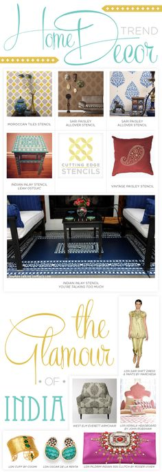 Use stencils to introduce glamorous India inspired home decor into your home! http://www.cuttingedgestencils.com/products_search.php?search_category_id=0
