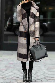 Fashion Black And White Plaid Woolen Coat Fashion Black And White Plaid Woolen Coat – Onlycal # Black Women Fashion, Look Fashion, Urban Fashion, Fashion Outfits, Womens Fashion, Fall Fashion, Fashion Vest, Cheap Fashion, Fashion Boots