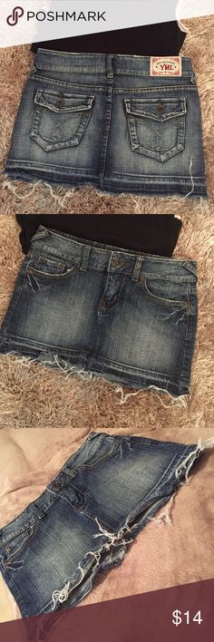 """YMI Mini Jeans Skirt Really good condition, this jeans skirt mini has ((intensionally) frayed edges along hem and lightly on pocket edges. Top to bottom measurement is 12"""". YMI Skirts Mini"""