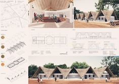 Kaira Looro - International architecture competition for a Cultural Center desing in Sedhiou, Senegal, Africa. Rainwater collection, passive ventilation and composting toilets. Collage Architecture, Architecture Design, Plans Architecture, Romanesque Architecture, Cultural Architecture, Education Architecture, Sustainable Architecture, Residential Architecture, Concept Architecture