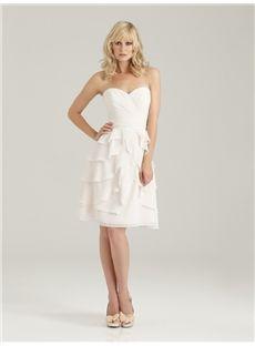 Ivory Chiffon Sparkly Sweetheart Knee-Length Sleeveless Short Bridesmaid Dress Newcastle