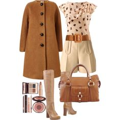 A fashion look from November 2014 featuring Orla Kiely coats, Carven shorts and Chloé boots. Browse and shop related looks.