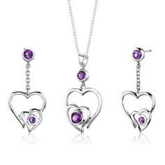 Revoni Sterling Silver 1.25 carats total weight Round shape Amethyst Pendant Earrings and 46 CM Length Silver Necklace Set
