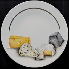 The cheese board - Ameline Porcelaine - Naomie Eldered China Painting, Ceramic Painting, Ceramic Art, Ceramic Plates, Porcelain Ceramics, China Porcelain, Giving Plate, Pictures To Paint, Tag Art