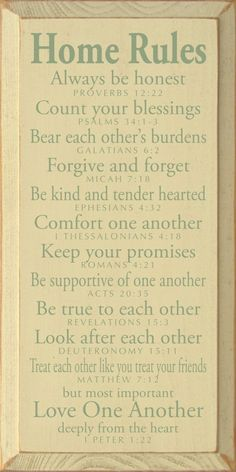 Home Rules - Always be honest - Proverbs 12:22. Count your blessings - Psalms 34:1-3. Bear each other's burdens - Galatians 6:2. Forgive by scurrier