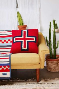 When cuddle time calls, cozy up with the Brave Star Pillow. It's red, navy, and cream and has a hand-hooked cross design on front with velvet back and feather fill. Back zip closure. Adds earthy southwestern vibes to all your cuddle spots. By Pendleton. Decor, Furnishings, Wool Pillows, Inspired Homes, Decor Design, Pillows, Pendleton, Home Decor, Colorful Interiors