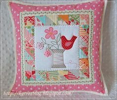 Patchwork and embroidered cushion Patch Quilt, Applique Quilts, Quilt Blocks, Patchwork Cushion, Quilted Pillow, Small Quilts, Mini Quilts, Cute Pillows, Throw Pillows