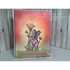 Fairy Celebration stamp set by Stampin' Up! on an ink blended background, created by Jenny Hall.