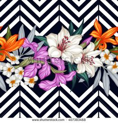 Vector tropical leaves and flowers seamless pattern. Hand painted illustration on geometric background
