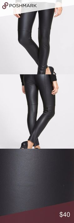 """Lysse High Waisted Faux Leather Leggings Size S Above-the-knee seams give an understated moto vibe to four-way-stretch leggings in neutrally hued faux leather. - Banded waist - Faux leather construction - Approx. 12"""" rise, 29"""" inseam Lysse Pants Leggings"""