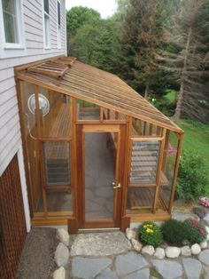 Previous lean-to #greenhouse - note Jalousie windows for extra ventilation #conservatorygreenhouse