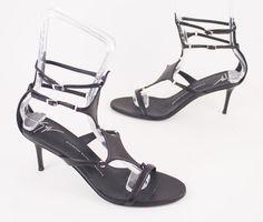 2ffd59c8a70 Giuseppe Zanotti Caged Black Leather Diamond Vamp Sandals Heels EU 40 US 10