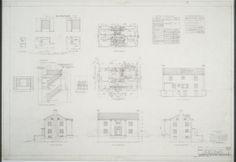 First floor plan, second floor plan, elevations, elevation of stairway W J McDanial House
