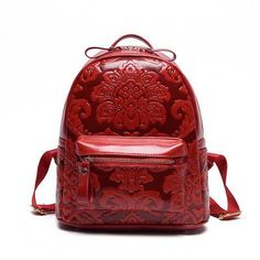 Beautiful NEW 2016 Vintage-Style Embossed Floral PU Leather Women's Large-Capacity Backpack 3 Colors
