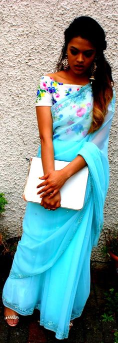 """""""Crop Top and Saree"""" Awesome post by @fashion_pick #fashion"""