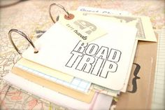 Road trip scrapbook -- good ideas for collecting and saving the kids' finds.  Like the easy flip binder rings.