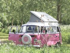 How cool would it be to have one of these! #camping #pink #vwcampervan