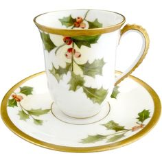 Limoges porcelain Christmas cup saucer holly berry gold A. Lanternier  Victoria's Curio Exclusive to Ruby Lane  www.rubylane.com