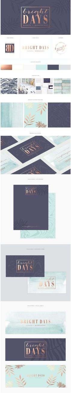 Custom brand design / www.brandmebeautiful.co.uk / enquiries@brandmebeautiful.co.uk // navy, gold, turquoise, logo design, stationery, marble, botanical