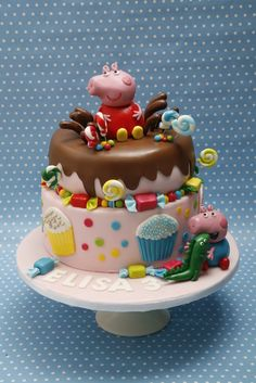Amazing Image of Peppa Pig Birthday Cakes Peppa Pig Birthday Cakes Peppa Pig And George Birthday Cake Cakecentral Tortas Peppa Pig, Bolo Da Peppa Pig, Peppa Pig Birthday Cake, Happy Birthday Cakes, Peppa Pig Cakes, 4th Birthday, Birthday Ideas, Novelty Cakes, Edible Cake