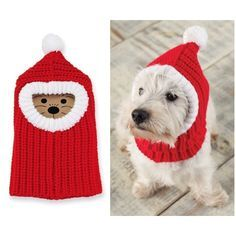 It's cold outside! Keep your puppy warm (and stylish to boot) with this Red Balaclava knitted headwear for dogs.