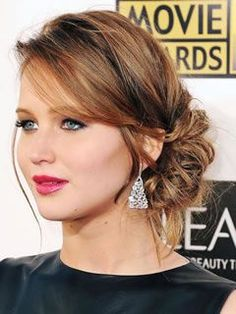 Long Haircuts for Square Shaped Faces: Low Chignon, Jennifer Lawrence