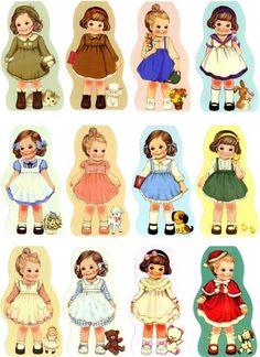 Little girl fashions - Box Toppers Chenille Crafts, Paper Art, Paper Crafts, Etiquette Vintage, Paper Dolls Printable, Victorian Dolls, Vintage Paper Dolls, Baby Kind, Vintage Ephemera