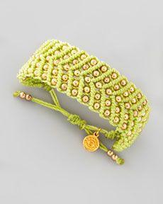 Beaded Friendship Bracelet, Lime by Blee Inara at Neiman Marcus. Macrame Jewelry Tutorial, Macrame Rings, Macrame Bracelets, Micro Macramé, Friendship Bracelets With Beads, Friendship Bracelet Patterns, Jewelry Crafts, Handmade Jewelry, Macrame Dress